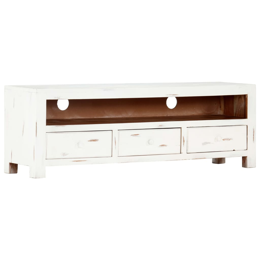 TV Cabinet White 120x30x40 cm Solid Acacia Wood | Furniture Supplies UK