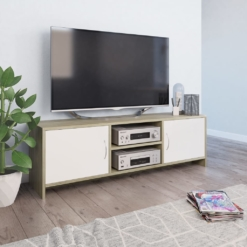 TV Cabinet White and Sonoma Oak 120x30x37.5 cm Chipboard | Furniture Supplies UK