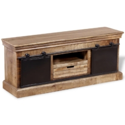 TV Cabinet with 2 Sliding Doors Solid Mango Wood 110x30x45 cm | Furniture Supplies UK