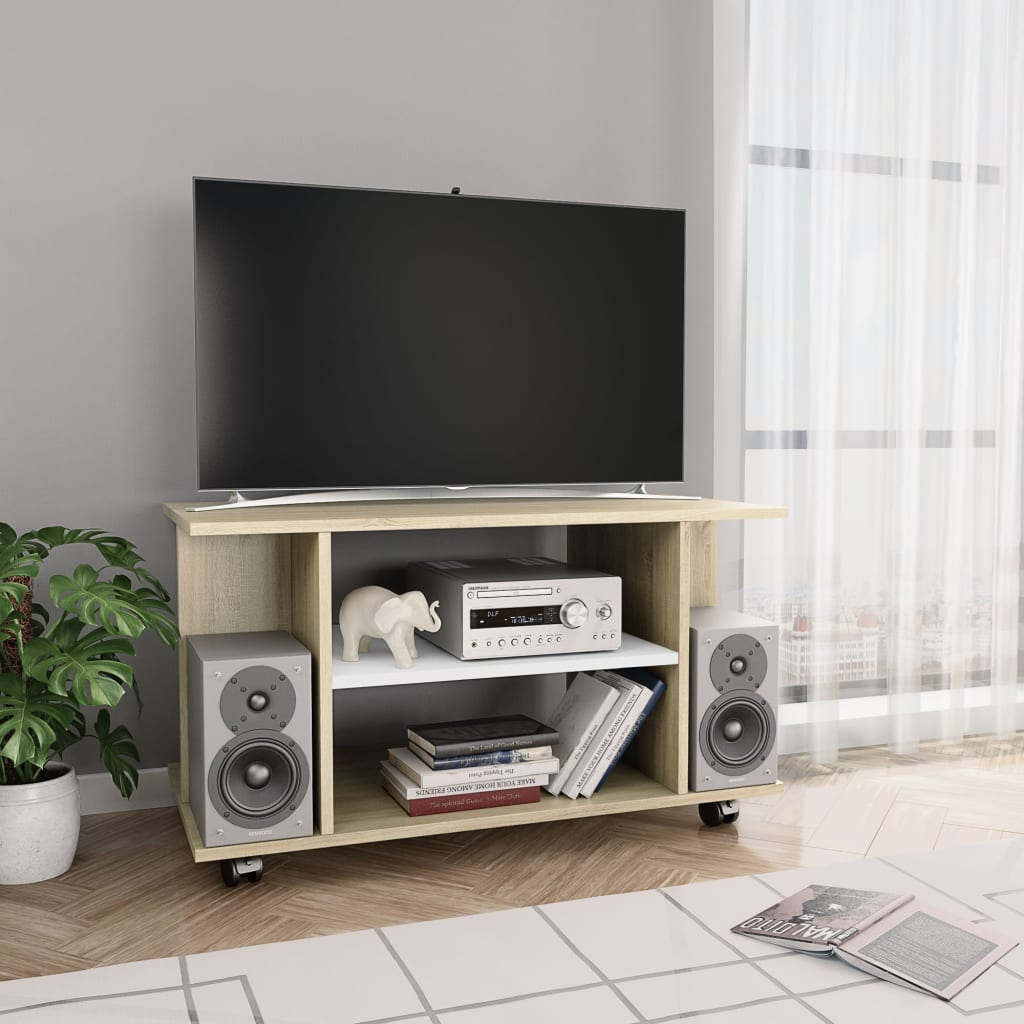 TV Cabinet with Castors White and Sonoma Oak 80x40x40 cm Chipboard | Furniture Supplies UK