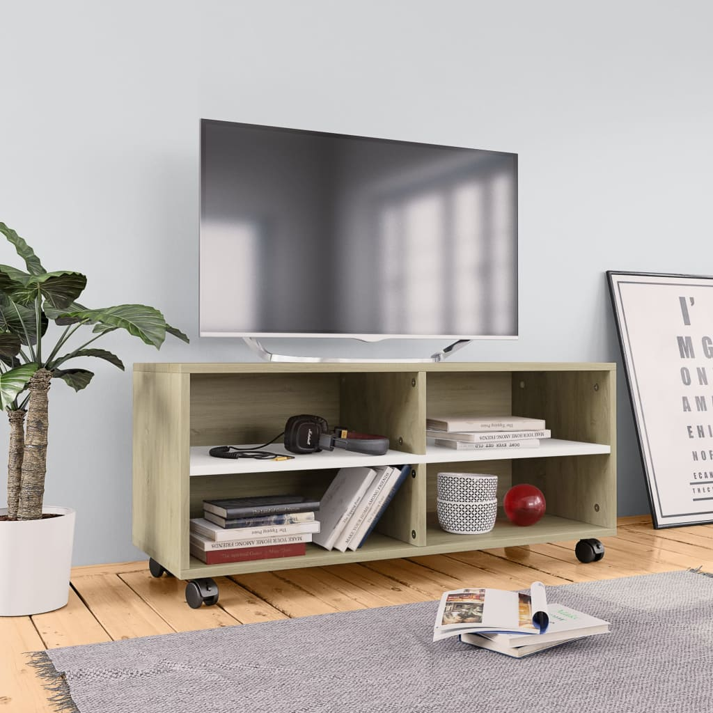 TV Cabinet with Castors White and Sonoma Oak 90x35x35 cm Chipboard | Furniture Supplies UK