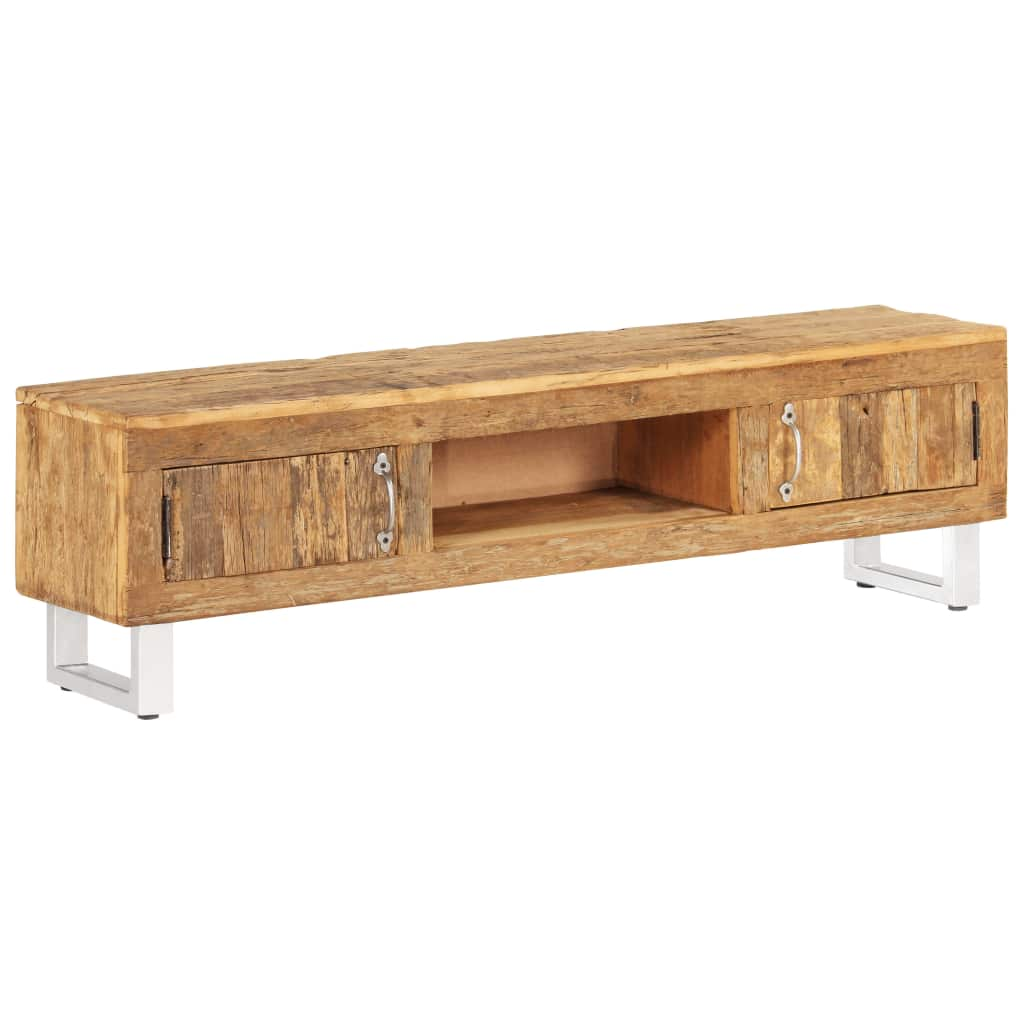 TV Stand Solid Reclaimed Sleeper Wood 140x30x40 cm | Furniture Supplies UK