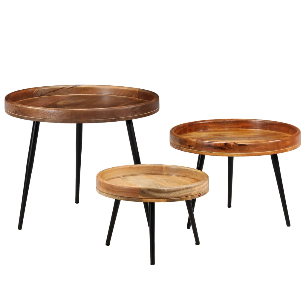 Table Set 3 Pieces Solid Mango Wood and Steel | Furniture Supplies UK