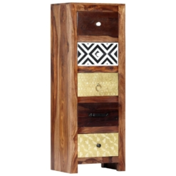 Tall Boy Chest Of Drawers Cabinet 40x30x110 cm Solid Sheesham Wood | Furniture Supplies UK