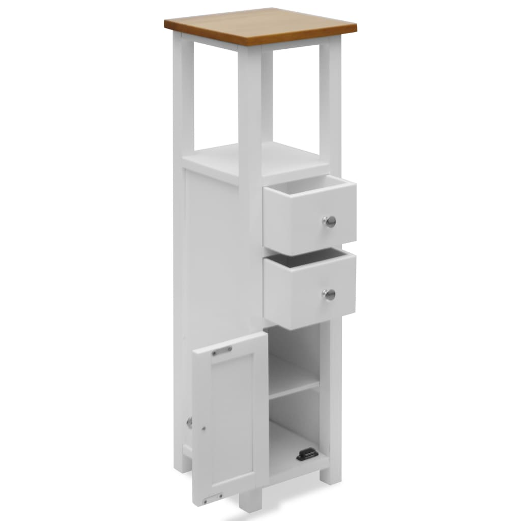 Tall Chest of Drawers 26x26x94 cm Solid Oak Wood |  | White