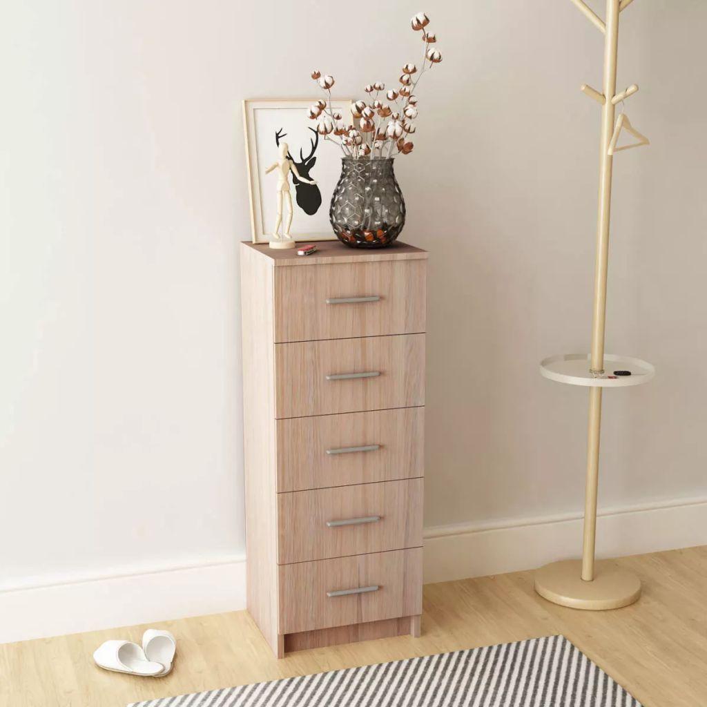 Tall Chest of Drawers Chipboard 41x35x108 cm Oak   Furniture Supplies UK