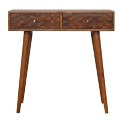 Nordic Tile Carved Chestnut Console Table