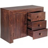 Toko Dakota Dark Mango 3 Drawer Sideboard | Solid Wood |