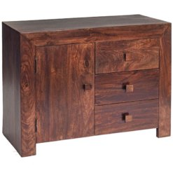 Toko Dakota Dark Mango 3 Drawer Sideboard | Furniture Supplies UK