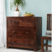 Toko Dakota Dark Mango 4 Drawer Dressing Chest | Solid Wood |