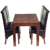 Toko Dakota Dark Mango 4Ft Dining Set 4 Leather Chairs | Furniture Supplies UK