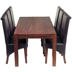 Toko Dakota Dark Mango 6Ft Dining Set With Leather Chairs | Furniture Supplies UK