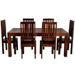 Toko Dakota Dark Mango 6Ft Dining Set With Wooden Chairs | Furniture Supplies UK