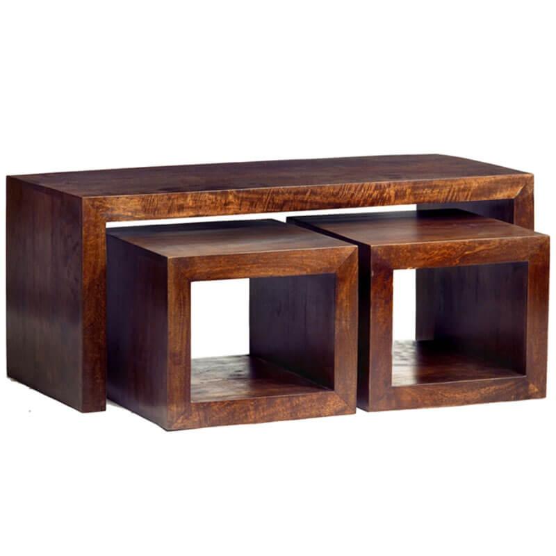 Toko Dakota Dark Mango Cubed John Long Coffee Table Set   Solid Wood  