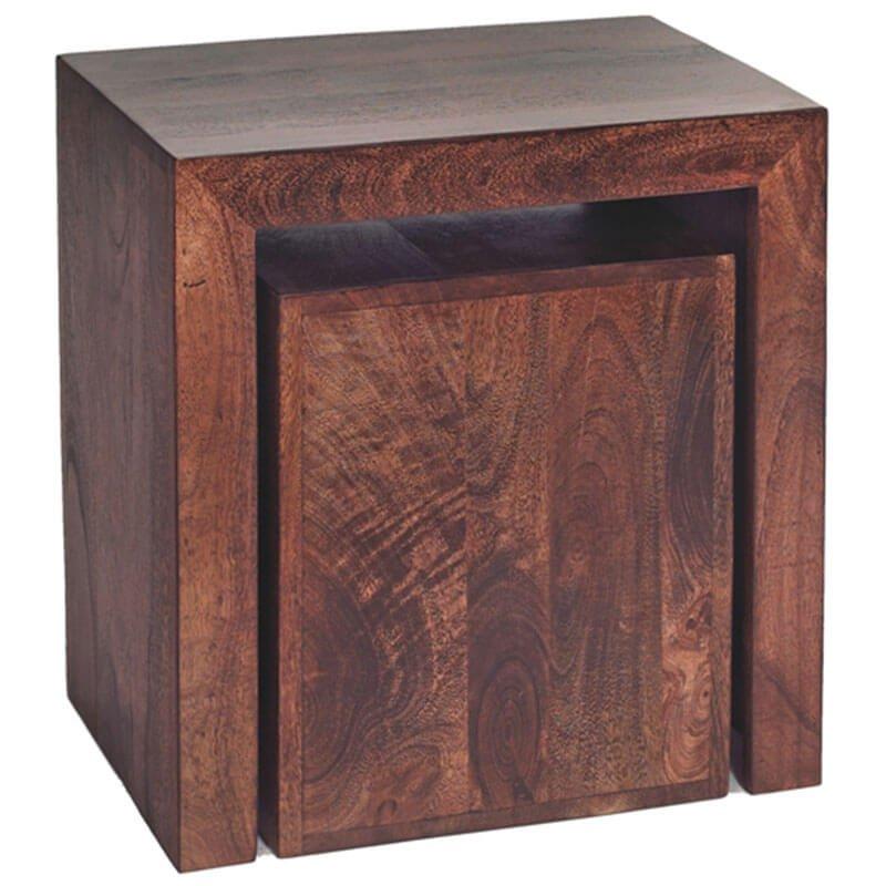 Toko Dakota Dark Mango Cubed Nest Of 2 Tables | Furniture Supplies UK