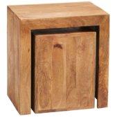 Toko Dakota Light Mango Cubed Nest Of 2 Tables | Furniture Supplies UK