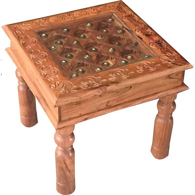 Traditional Acacia Side Table 45*45 | Furniture Supplies UK