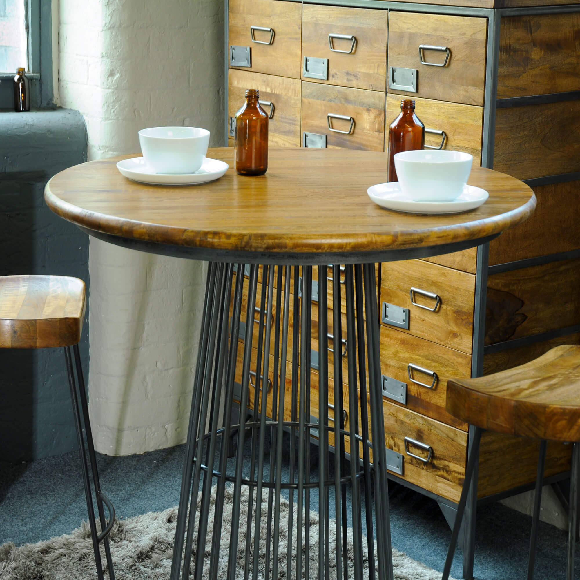 Urban Birdcage Bar Table X2 Swivel Stools   Solid Wood  