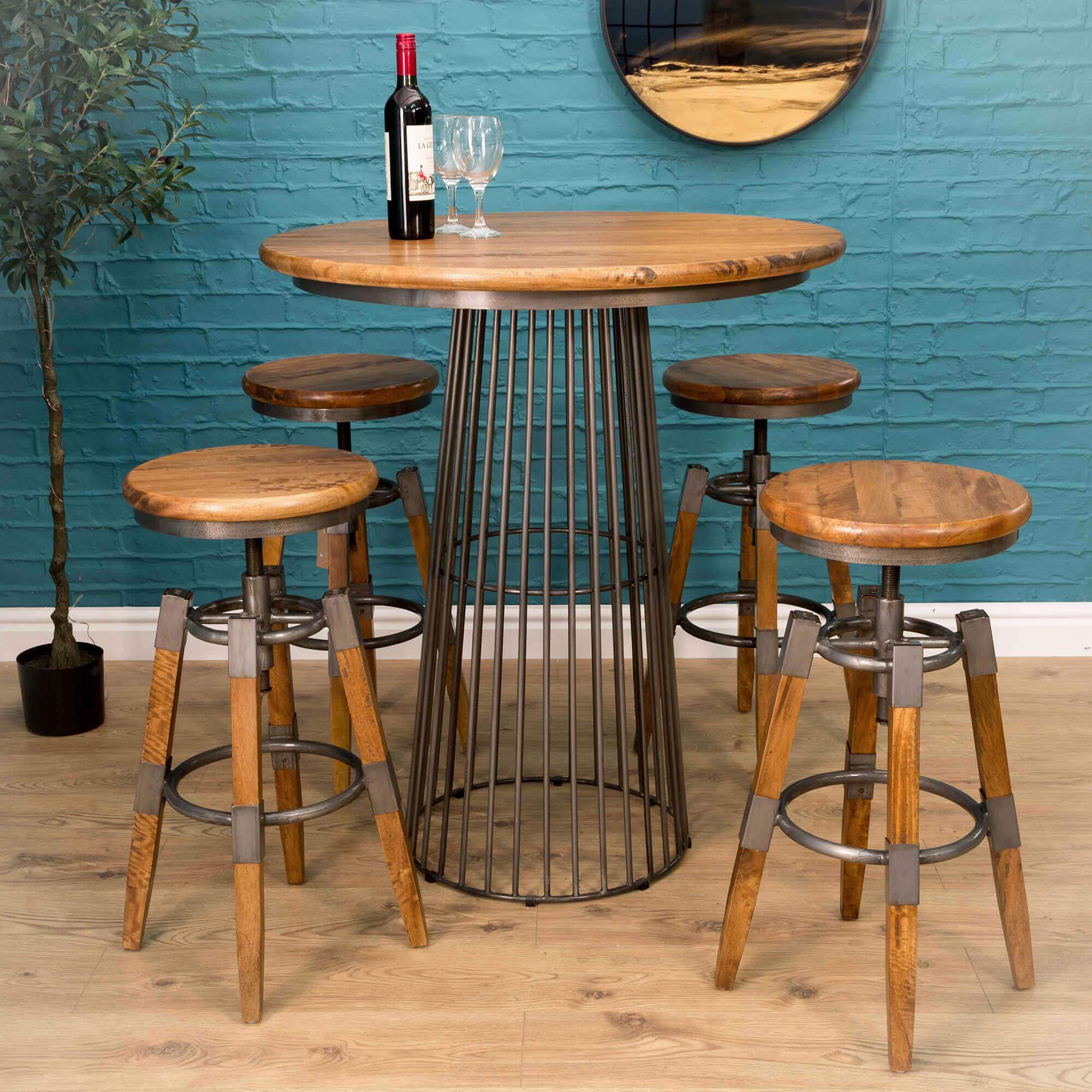 Urban Birdcage Bar Table X2 Swivel Stools   Furniture Supplies UK