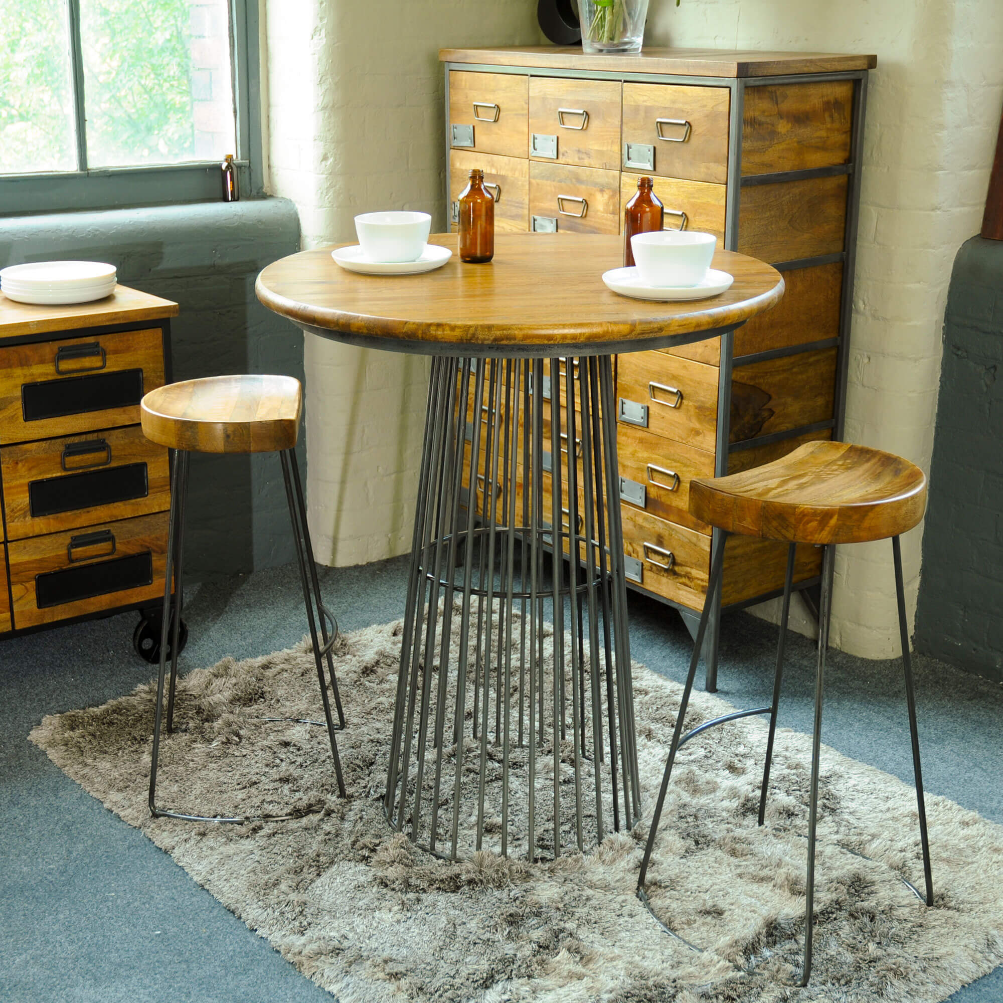 Urban Birdcage Bar Table with 2 Stools   Furniture Supplies UK