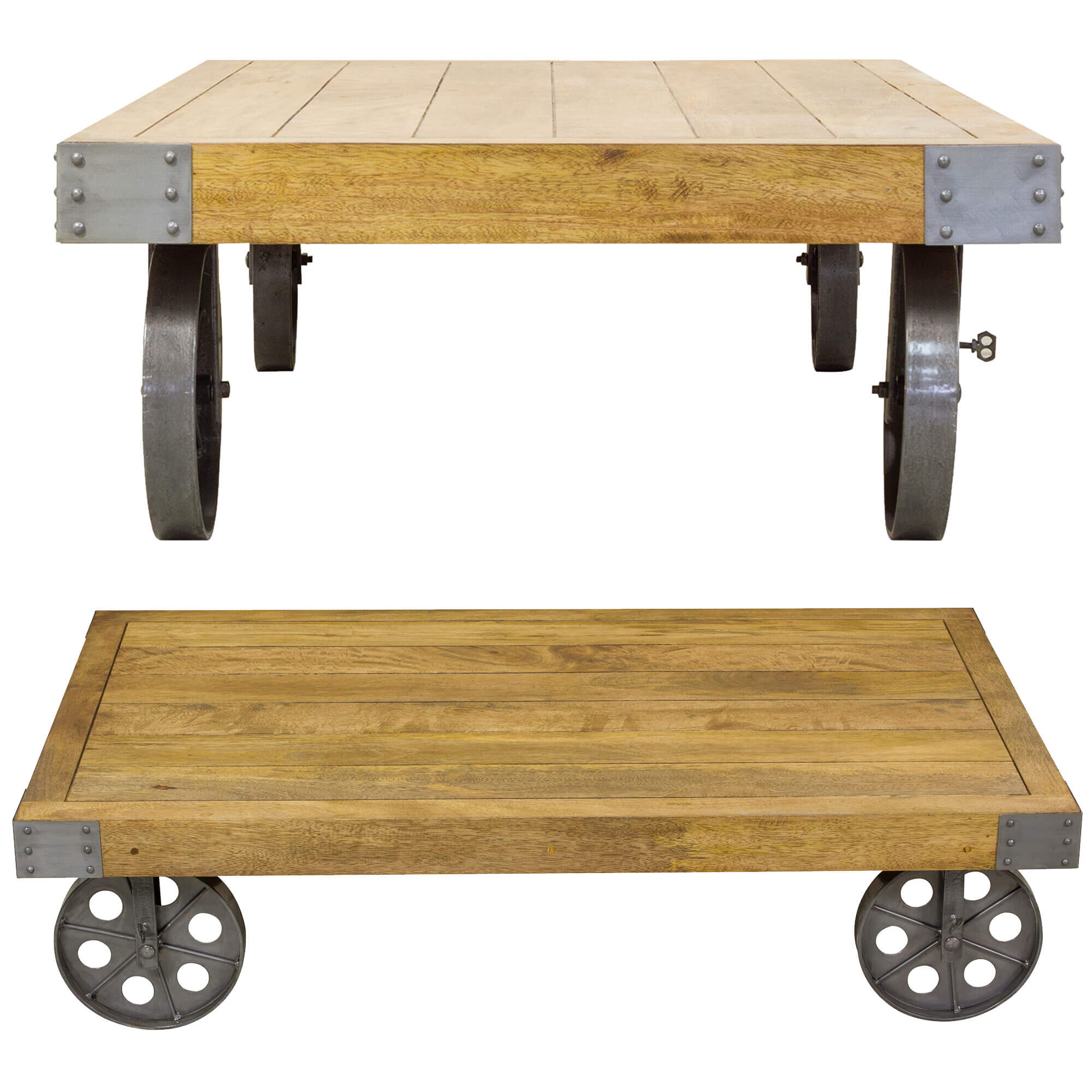 Urban Industrial Coffee table with Wheels | Solid Wood |