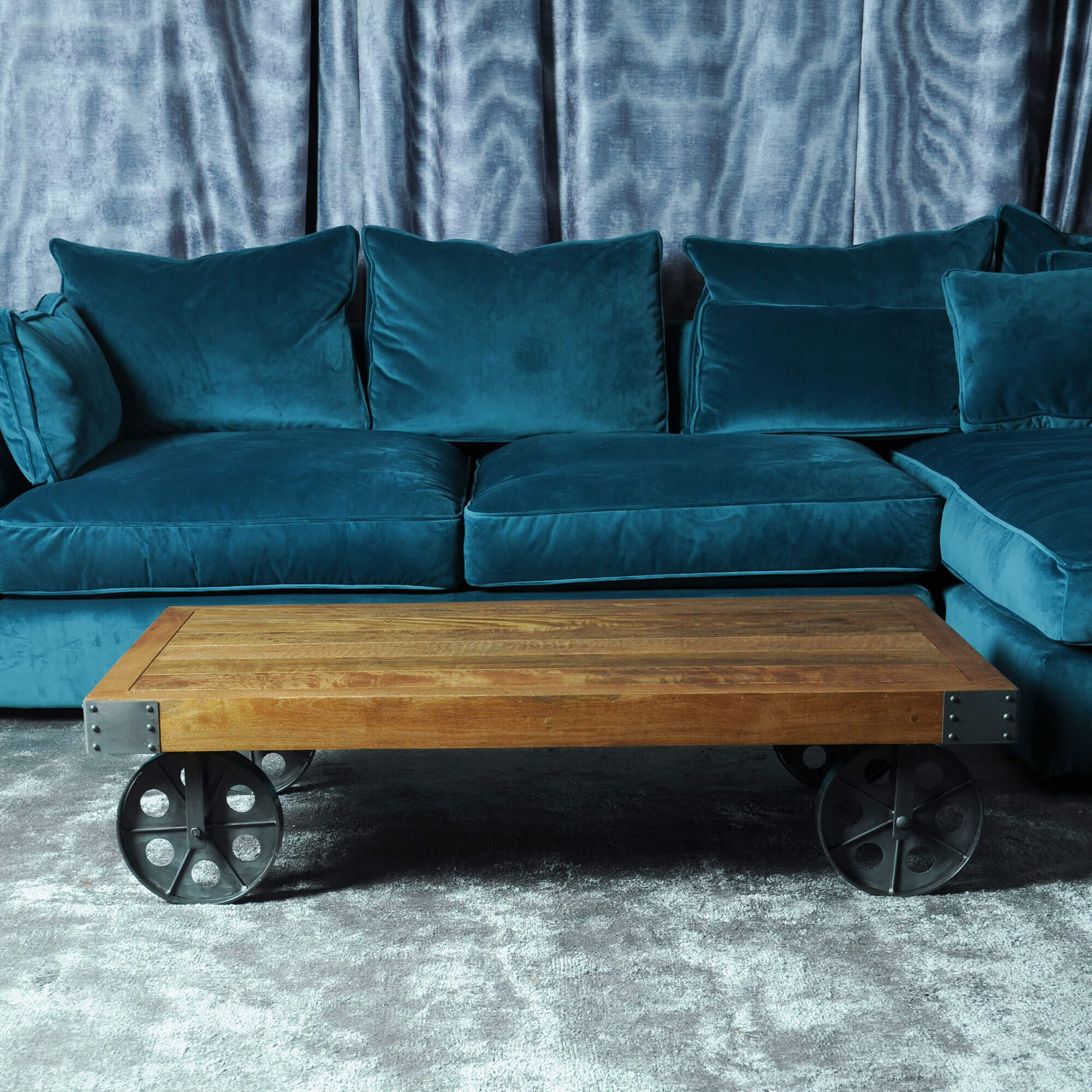 Urban Industrial Coffee table with Wheels