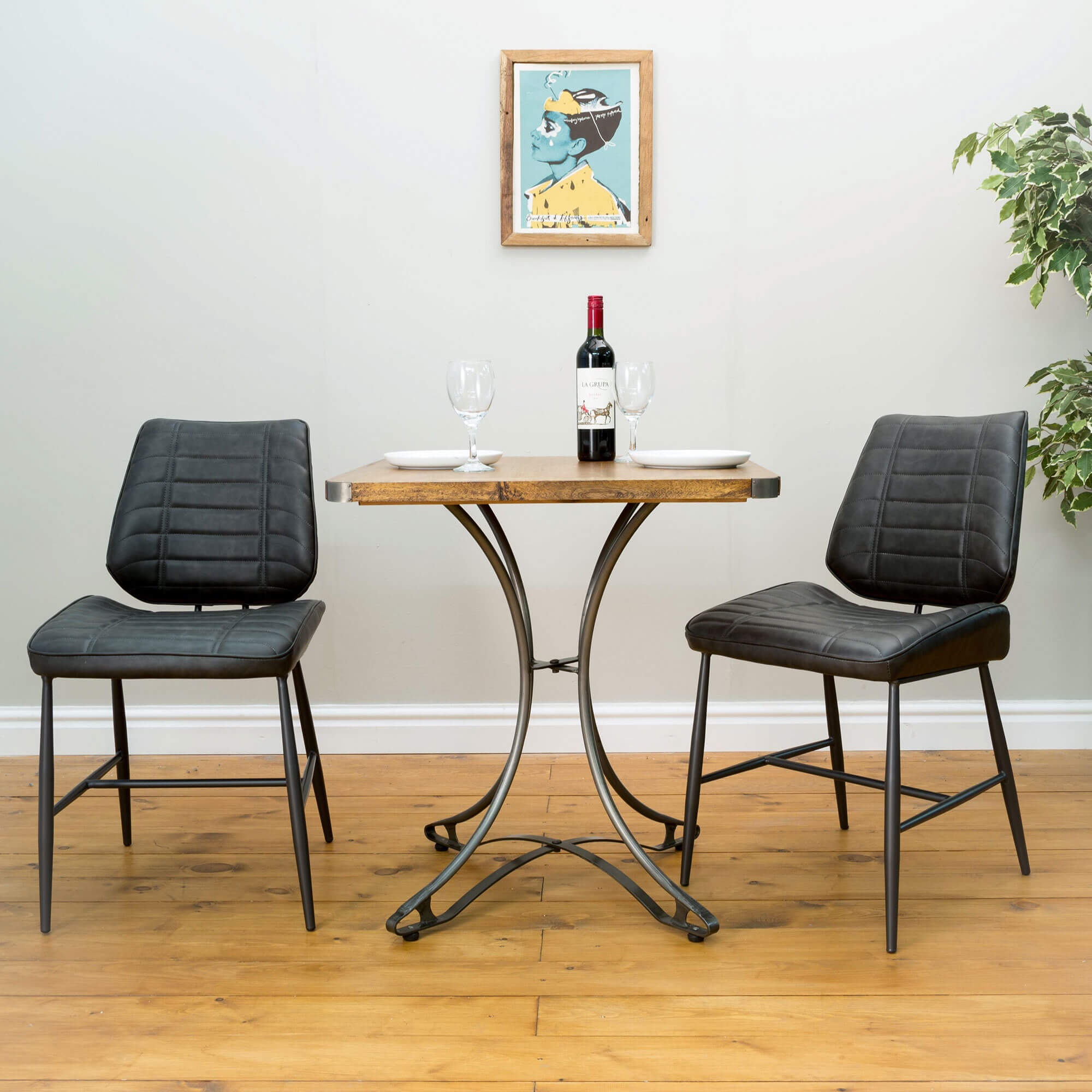 Urban Square Cafe Table x2 Chairs (70x70) | Solid Wood |