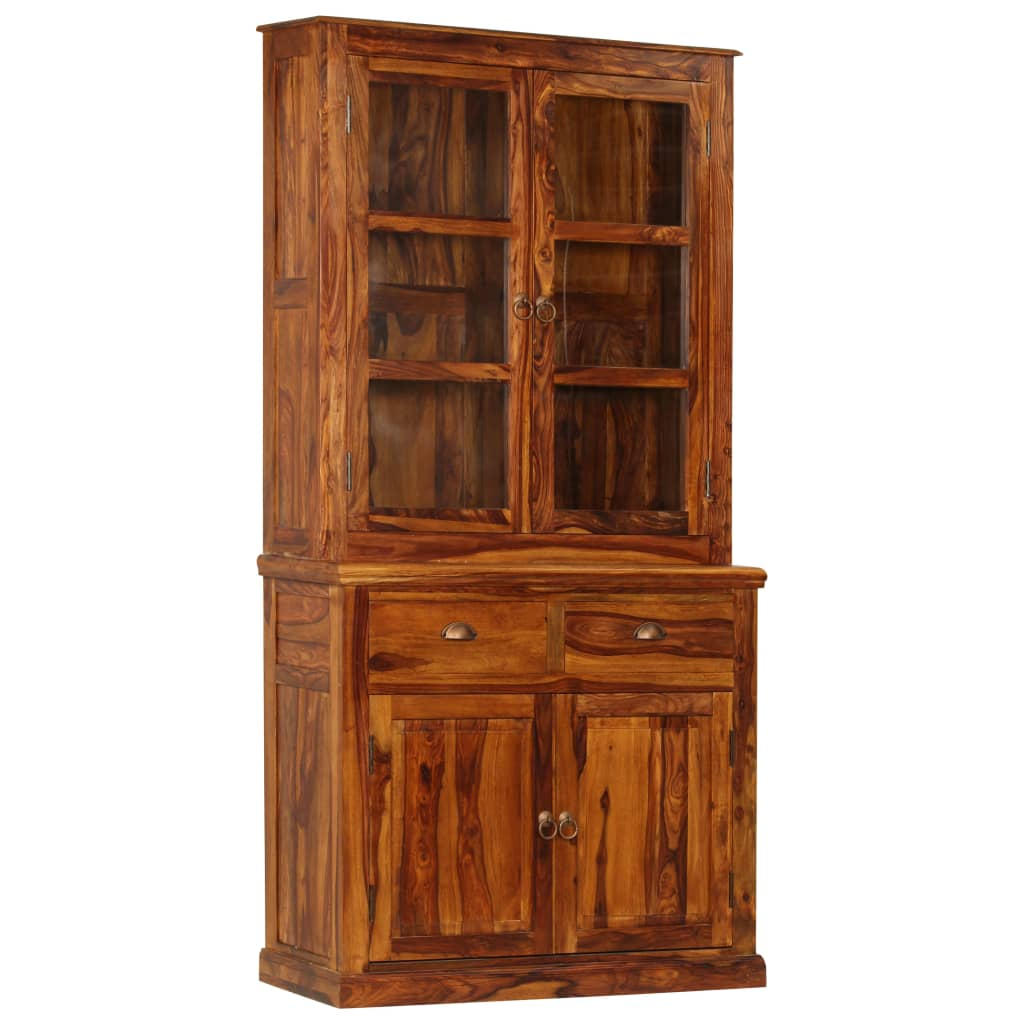 Vitrine Cabinet Solid Sheesham Wood 100x70x200 cm | Furniture Supplies UK