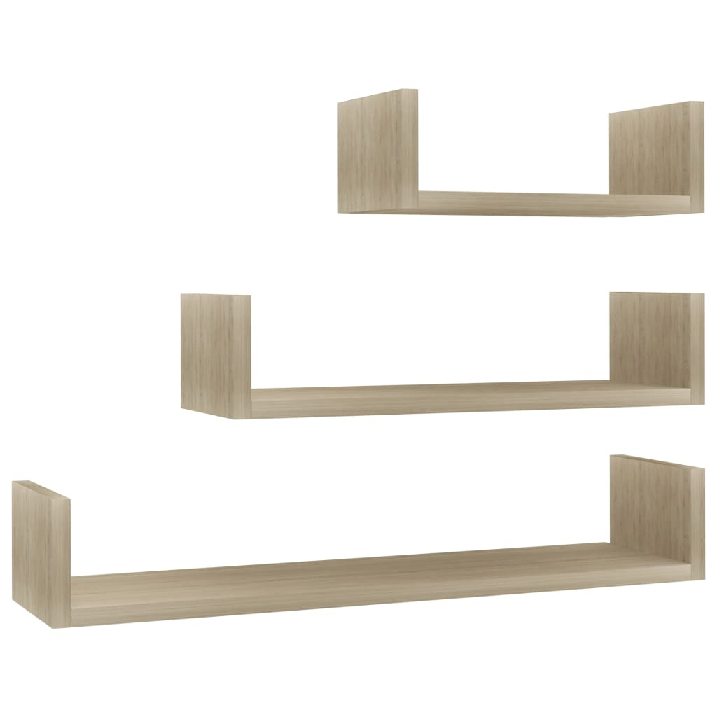 Wall Display Shelf 3 pcs Sonoma Oak Chipboard |  | Brown