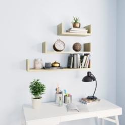 Wall Display Shelf 3 pcs Sonoma Oak Chipboard   Furniture Supplies UK