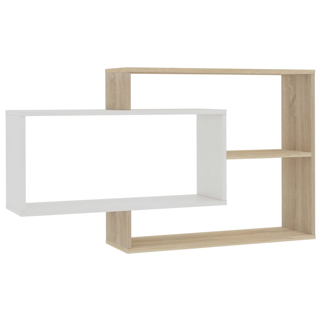 Wall Shelves White and Sonoma Oak 104x24x60 cm Chipboard |  | Brown