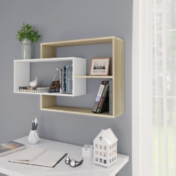 Wall Shelves White and Sonoma Oak 104x24x60 cm Chipboard | Furniture Supplies UK