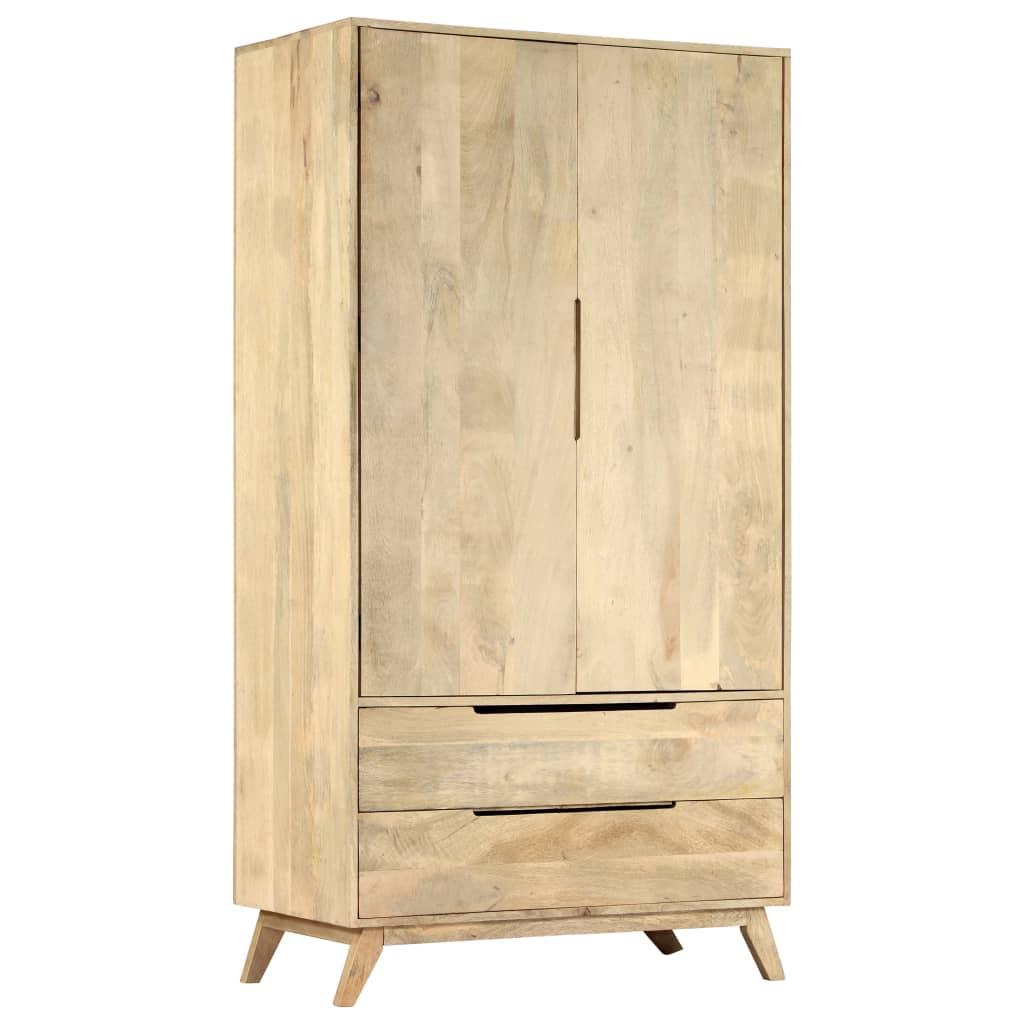 Wardrobe 100x55x190 cm Solid Mango Wood   Furniture Supplies UK