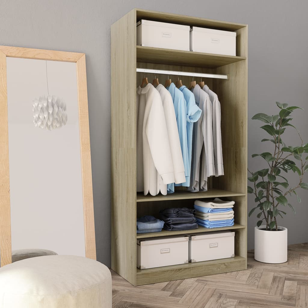 Wardrobe Sonoma Oak 100x50x200 cm Chipboard | Furniture Supplies UK