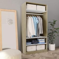 Wardrobe White and Sonoma Oak 100x50x200 cm Chipboard | Furniture Supplies UK
