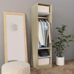 Wardrobe White and Sonoma Oak 50x50x200 cm Chipboard | Furniture Supplies UK