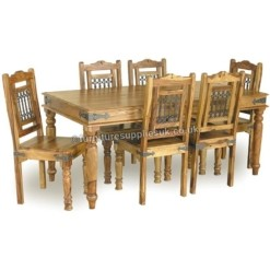 XL Jali Dining Table 8 Chairs 200cm | Furniture Supplies UK