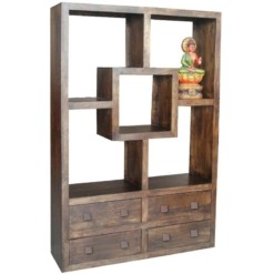 Yoga Straight Bookcase With 4 Drawers Walnut Colour | Furniture Supplies UK