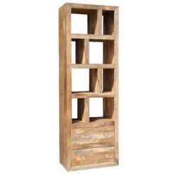 Yoga Tall Bookcase With 2 Drawers Light Mango | Furniture Supplies UK