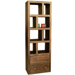 Yoga Tall Bookcase With 2 Drawers Walnut Colour | Furniture Supplies UK