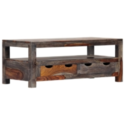 Zen Coffee Table Grey 100x50x40 cm Solid Sheesham Wood | Furniture Supplies UK