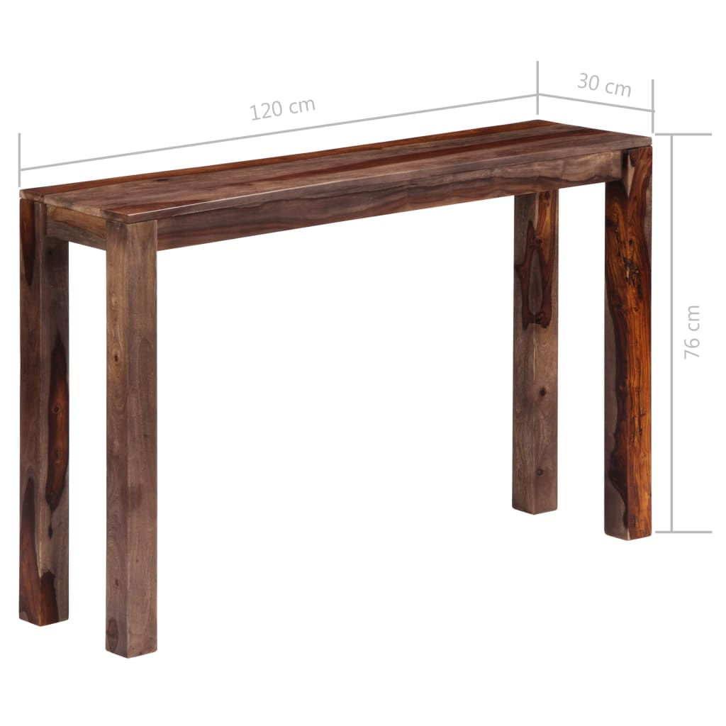 Zen Console Table Grey 120x30x76 cm Solid Sheesham Wood
