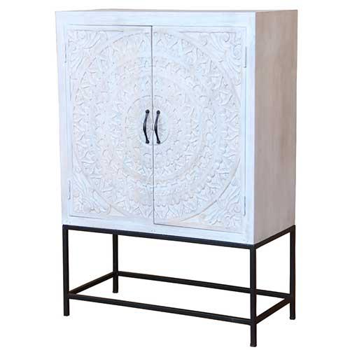 Chennai White Washed Furniture | Chennai White Chalk Panted Wood Furniture