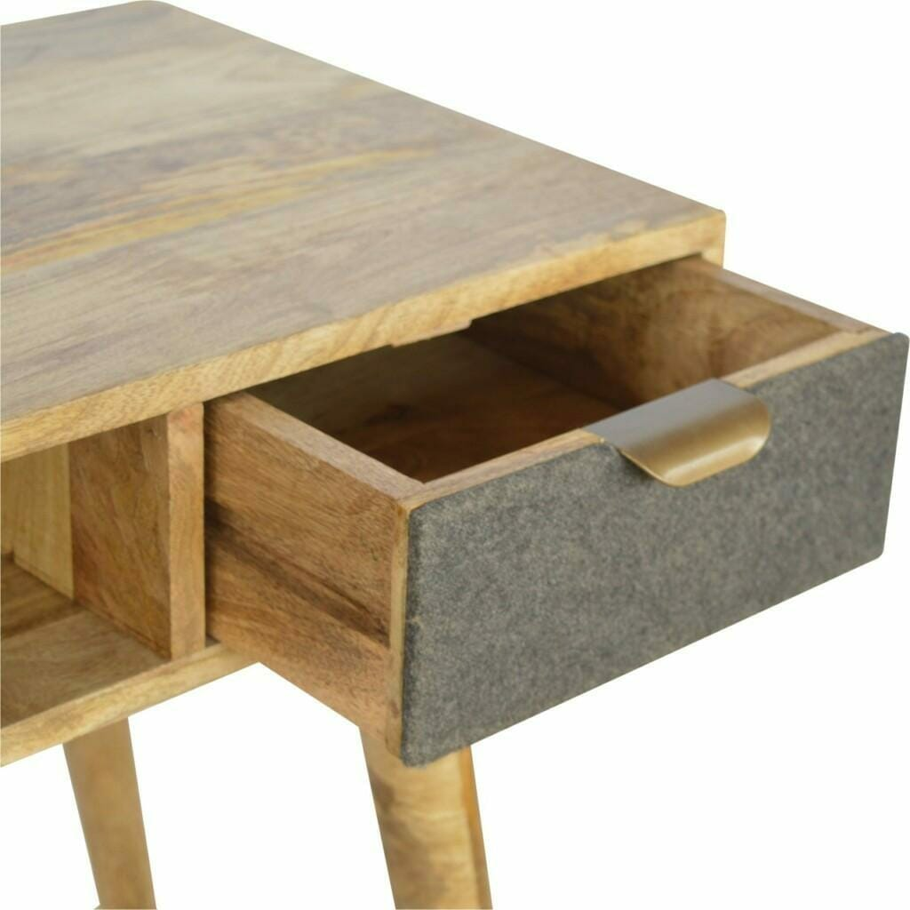 Writing Desk with One Grey Tweed Fabric Drawer Front