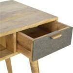 Writing Desk with One Grey Tweed Fabric Drawer Front 4