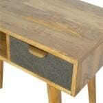 Writing Desk with One Grey Tweed Fabric Drawer Front 6