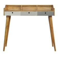 Grey Painted Gallery Back Writing Desk with 3 Drawers