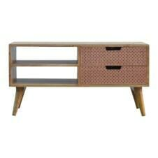 Nordic Style Media Unit with Perforated Copper Front Drawers