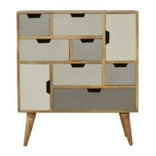 9 Grey Cut Out Drawers Hand Painted Chest