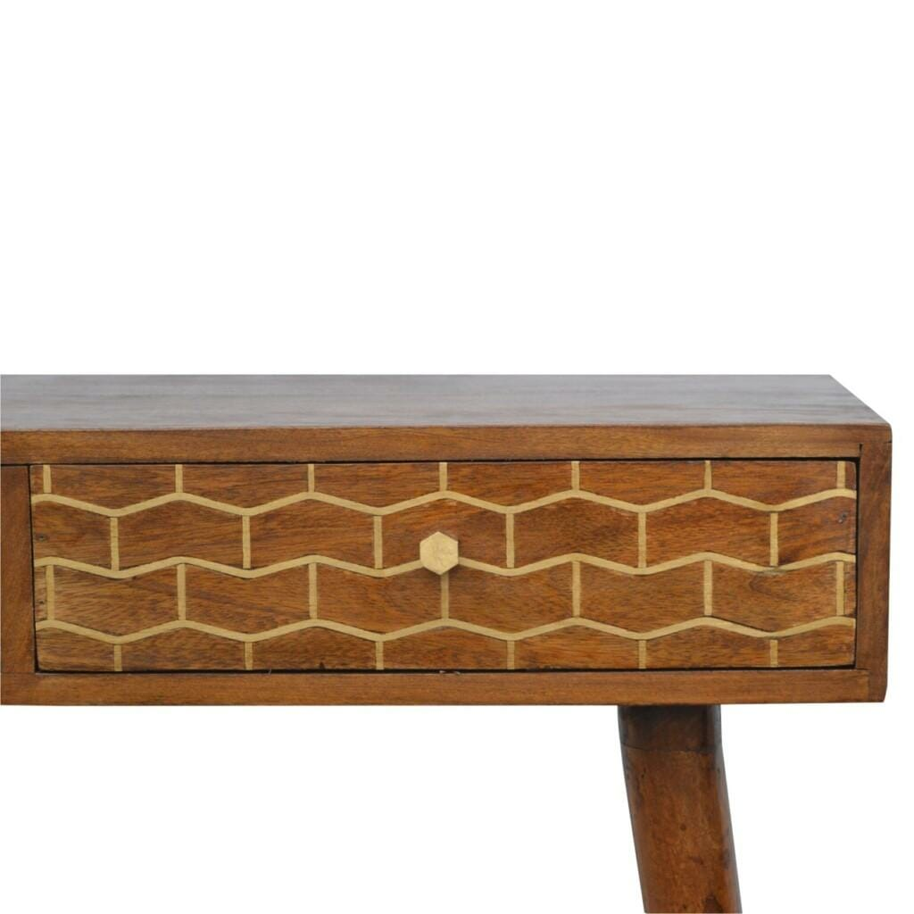 2 Drawer Chestnut Writing Desk with Gold Patterned Drawer Front